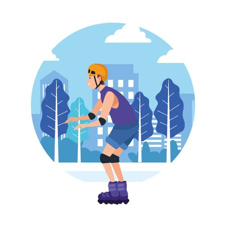 sport outdoor sportive activity, man riding roller skates in city park cartoon vector illustration graphic design