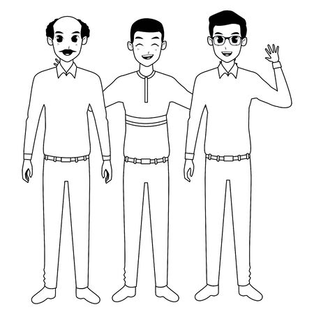 Family grandfather with father and adult son greeting vector illustration graphic design