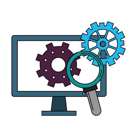 computer screen technology hardware maintenance and support cartoon vector illustration graphic design Иллюстрация