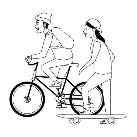 Friends riding in bicycle and skateboard cartoon ,vector illustration graphic design.