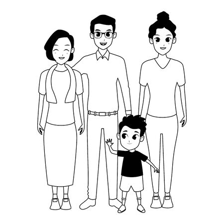 Family dad and mom with grandmother with boy vector illustration graphic design