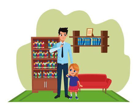 Family single father and little daughter smiling cartoon inside home living room with sofa and library scenery ,vector illustration graphic design.