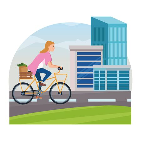 Young woman with groceries basket riding on bike cartoon in the city, urban scenery ,vector illustration graphic design. 向量圖像