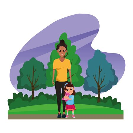 Family single mother with little daughter cartoon in nature outdoors scenery ,vector illustration graphic design.