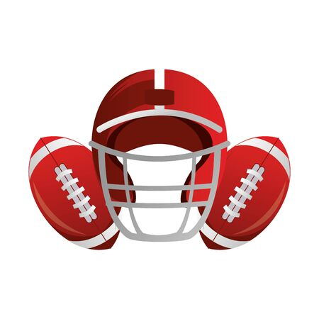 american football sport game helmet with balls cartoon vector illustration graphic design 向量圖像