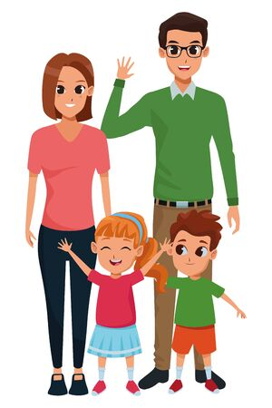Family dad and mom with boy and girl vector illustration graphic design