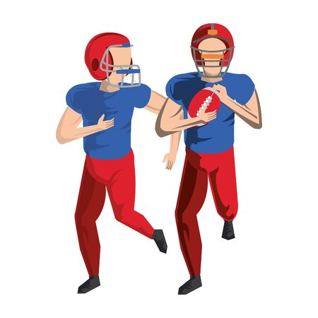 american football sport game players training with ball wearing helmet cartoon vector illustration graphic design 向量圖像