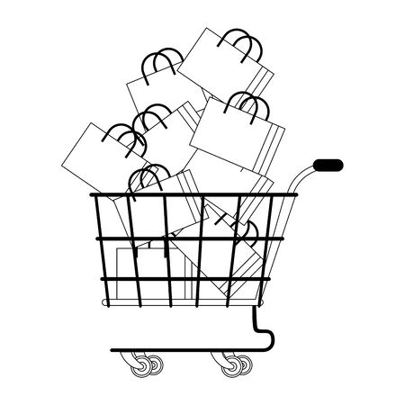 shopping retail sale store, shopping cart with shopping bags cartoon vector illustration graphic design  イラスト・ベクター素材