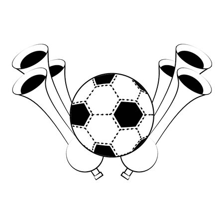 Soccer football sport game ball with horns vector illustration graphic design