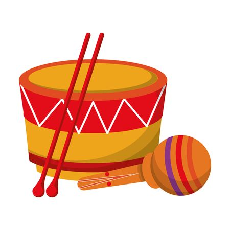 music instruments musical drum and maracas objects cartoon vector illustration graphic design Banque d'images - 129528357