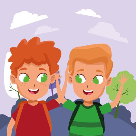 childhood adorable school students happy boys friends wearing backpack cartoon at park with nature scenery vector illustration graphic design.