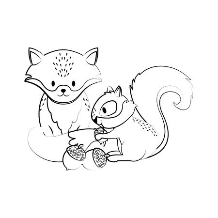 Cute fox and squirrel with nuts cartoons vector illustration graphic design