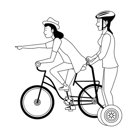 Young women friends riding with bicycle and electric scooter ,vector illustration graphic design. Foto de archivo - 129528375