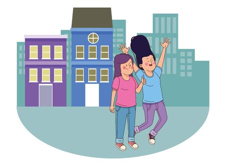 teenager friends women smiling and greeting in the city, urban scenery background vector illustration graphic design.