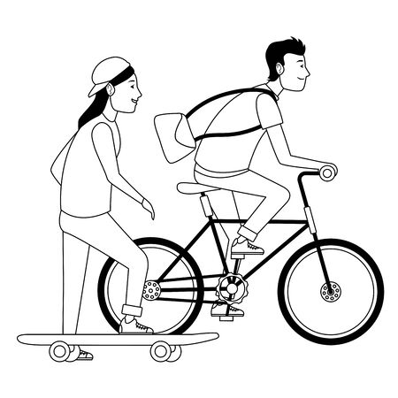 Young couple training with skateboard and bike extreme sports ,vector illustration graphic design. Stock Illustratie
