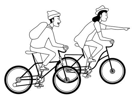 Young people riding bikes with hats and backpack ,vector illustration graphic design.