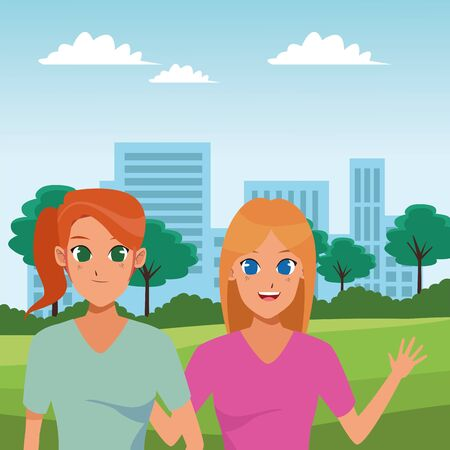 Women friends smiling and greeting cartoons at city park scenery vector illustration graphic design