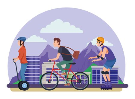 Young people riding with bike rolling skates and electric scooter in the city urban buildings scenery in the city urban scenery background ,vector illustration graphic design. 向量圖像
