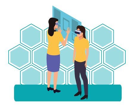 virtual reality technology, young women living a modern digital experience with headset glassestouching screen cartoon on blue hologram background ,vector illustration. Иллюстрация