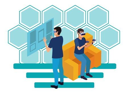 virtual reality technology, young men friends living a modern digital experience with headset glassesand joysticks cartoon on blue hologram background ,vector illustration.