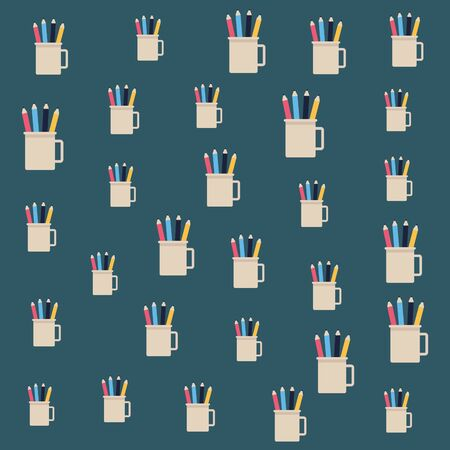 Pencils in cup office pattern cartoons background ,vector illustration graphic design.