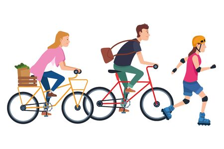 Young people riding with bikes and skates wearing accesories ,vector illustration graphic design.