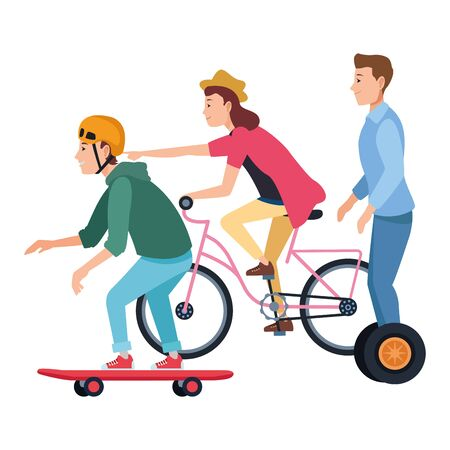 Young people riding with bikes skateboard and electric scooter ,vector illustration graphic design.