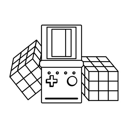 retro vintage game tetris gameplay console with cubes isolated cartoon vector illustration graphic design