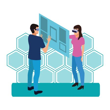 virtual reality technology, young couple living a modern digital experience with headset glassestouching screen cartoon on blue hologram background ,vector illustration. Иллюстрация