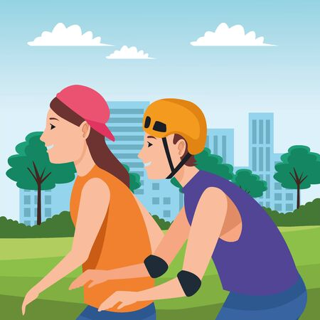 young man and woman with hat and helmet cartoon in the city urban scenery background ,vector illustration graphic design.