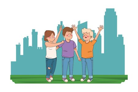 teenager friends smiling and greeting in the city, urban scenery background vector illustration graphic design.