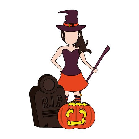 halloween october scary celebration, witch with broom and stone with pumpkin cartoon vector illustration graphic design