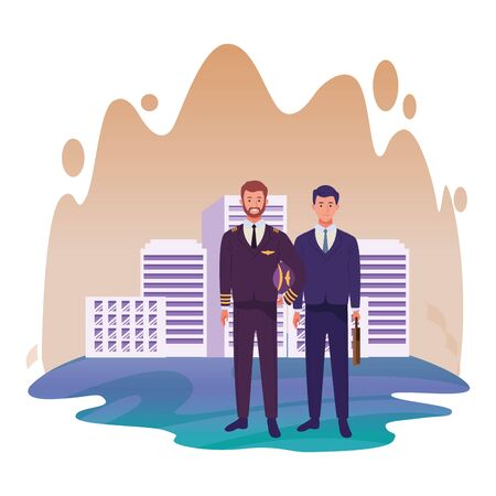 Professionals workers pilot and businessman with briefcase smiling cartoons in the city urban background with cityscape ,vector illustration graphic design.