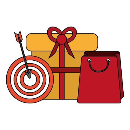 shopping commerce sale marketing, purchase and promotion objects cartoon vector illustration graphic design