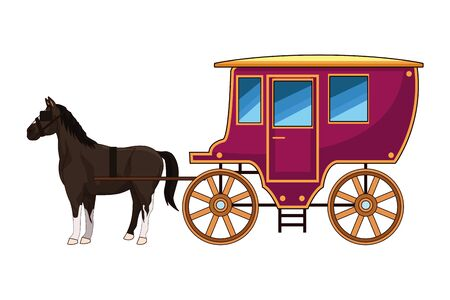 Antique horse carriage animal tractor vector illustration graphic design. Illustration