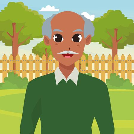 old man smiling and happy portrait isolated in the garden scenery background ,vector illustration graphic design.