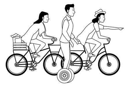 Young people riding with bicycles and electric scooter wearing accesories ,vector illustration graphic design.