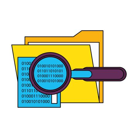 magnifying glass checking system codes in documents technology cartoon vector illustration graphic design Иллюстрация