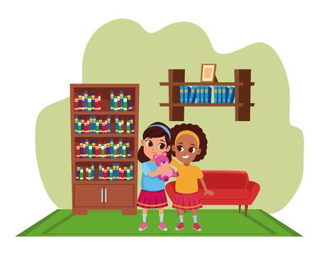 Kids friends girls with teddy playing and smiling cartoon inside home living room with sofa and library scenery ,vector illustration graphic design.