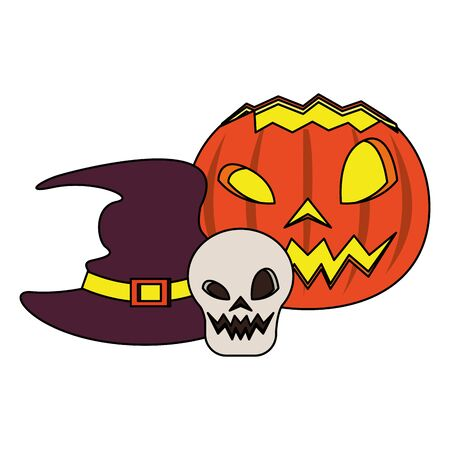 halloween october scary celebration, witch hat with skull and pumpkin cartoon vector illustration graphic design Illusztráció