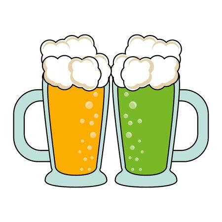 beer glasses fresh alcoholic drinks cartoon vector illustration graphic design  イラスト・ベクター素材