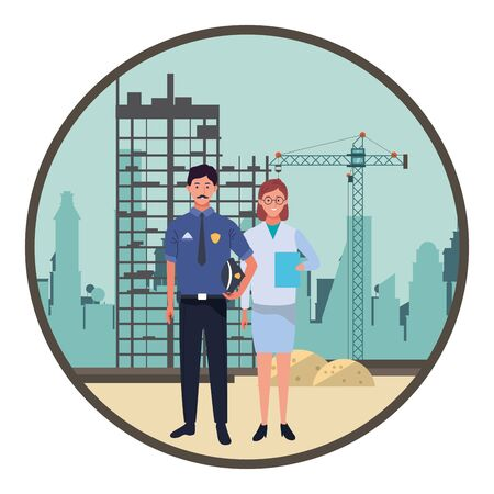 Professionals workers police officer and doctor with clipboard smiling cartoons in construction zone round icon ,vector illustration graphic design.
