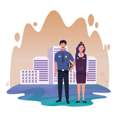 Professionals workers police officer and stewardess smiling cartoons in the city urban background with cityscape ,vector illustration graphic design.