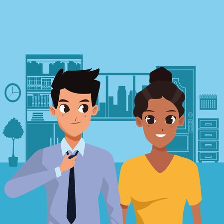 Young couple boyfriend and girlfriend smiling and greeting inside home scenery background vector illustration graphic design