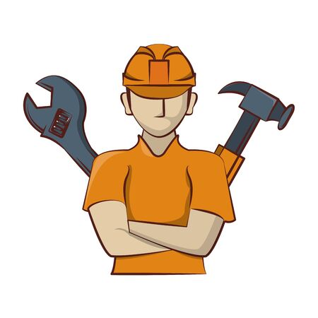 engineering construction factory industryn, engineer professional man with work tools cartoon vector illustration graphic design