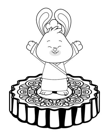 Mid autumn cute rabbit greeting on isometric mooncake ,vector illustration graphic design.