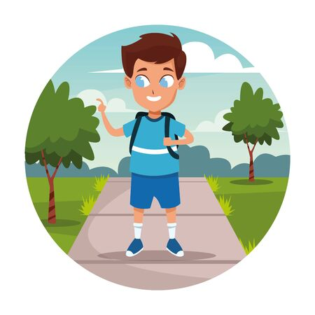 School boy with backpack walking at street cartoon round frame vector illustration graphic design