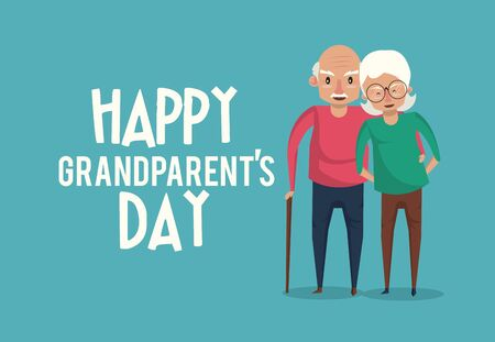 Happy grandparents day card with grandfather and grandmother couple cartoons ,vector illustration graphicdesign. Illusztráció