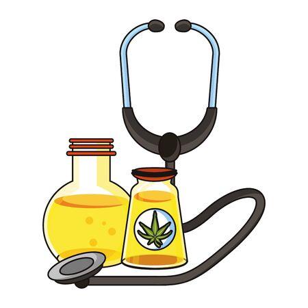 cannabis martihuana medical marijuana medicine sativa hemp oil bottles cartoon vector illustration graphic design 写真素材 - 129531756