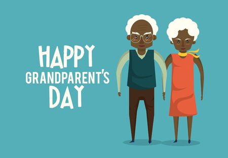 Happy grandparents day card with grandfather and grandmother couple with heart frame cartoons ,vector illustration graphicdesign.
